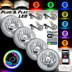 5-3/4 Rgb Smd Color-chasing Angel Eye Halo Headlight 18/24w Led Lamp Bulb Set