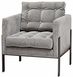 29 W Lelani Occasional Chair Hand Forged Steel Velvet Wrapped Button Tufted