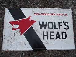 Large Metal Wolfand039s Head Motor Oil Sign 3and039x5and039
