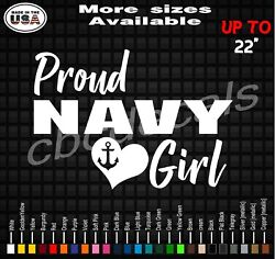 Proud Navy Girl Decal Sticker Navy Girlfriend Vinyl Decal Stickers Military Wife