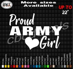 Proud Army Girl Decal Sticker Army Girlfriend Vinyl Decal Stickers Military Wife