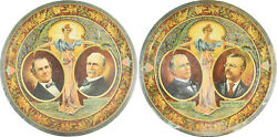 1900 Pair Of Graphic 12 Mckinley And Bryan Tin Trays-scarce Vg+/exc, Minor Flaws