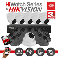 Hiwatch Hikvision 8 16ch Cctv Dvr Record 2.4mp 1080p Camera Security System Kit