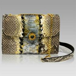 Silvano Biagini Italian Designer Jeweled Python Leather Messenger Bag WChain