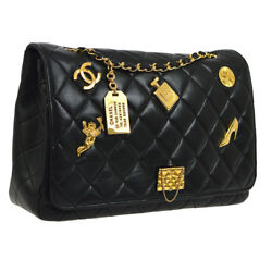 Auth CHANEL Quilted CC Jumbo Single Chain Shoulder Bag Black Leather VTG G03512