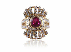 Pave 3.14 Cts Round Baguette Cut Natural Diamonds Ruby Cocktail Ring In 14k Gold
