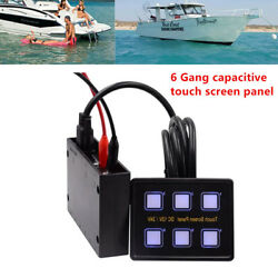 Magical 6Gang LED Touch Screen Panel Slim Switch Control Car Boat Marine 12V24V