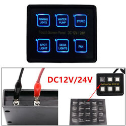 Powerful 6Gang LED Touch Screen Panel Slim Switch Controls Car Boat Marine Trim