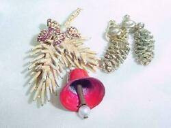 Hallmarked Art Pinecones And Bell W/ Pearls Christmas Pin Brooch And Earrings1893