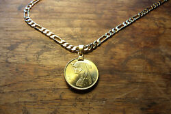 Mens Cleopatra Egyptian Piastres Brass Coin Pendant 18kgf 24 Gold Filled Chain