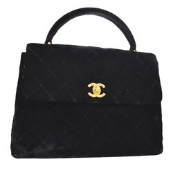 Authentic CHANEL Quilted CC Logos Hand Bag Black Velvet Vintage GHW GS01296