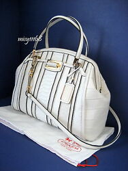 NWT Coach Madison Domed Satchel in Exotic Stripe Leather 30103 LIWhite Multi