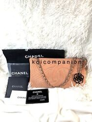 Authentic Chanel Peach Suede Pochette Wristlet Wallet Bag With Card