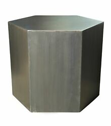 24 Dia. Hexagon Side Table Hand Crafted Stainless Steel Smooth Polished Finish