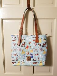 NWT Disney Dooney & and Bourke Dogs Blue Tote Bag Purse Lady Tramp Stitch