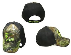 Shut Up And Fish Fishing Hook On Bill Black Camo Embroidered Cap Cap940 Hat