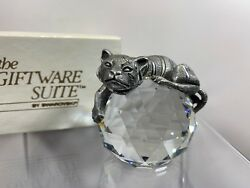 Trimlite Giftware Pewter Tiger Paperweight With Clear Crystal Rare