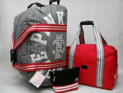 NWT VICTORIAS SECRET PINK 3PC TRAVEL SET ROLLING DUFFLE CARRY ON