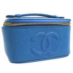 Auth CHANEL CC Cosmetic Mini Hand Bag Pouch Blue Caviar Skin Leather AK22357