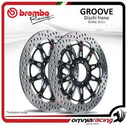 Pair Of Brembo The Groove Front Brake Discs 310mm Suzuki Dl 650 V Stom Abs 0712
