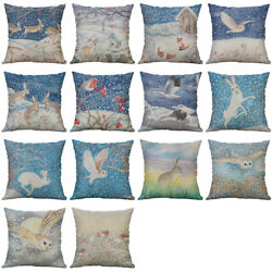 Winter Snowflake Cotton Linen Soft Home Decorative Pillow Case Cushion Cover 18quot;