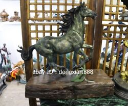 60 Cm Western Art Deco Bronze Wood Fine Horse Equine Steed Ornament Sculpture