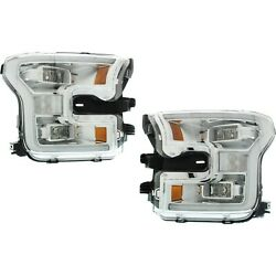 Headlight Set For 2015-2017 Ford F-150 Left And Right Led With Bulb Capa 2pc