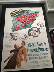 1954 Many Rivers To Cross 1-sh 27x41 Movie Poster Gd+ 2.5 Robert Taylor