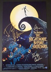 Nightmare Before Christmas Castx4 Hand-signed Danny Elfman11x17photo Proof