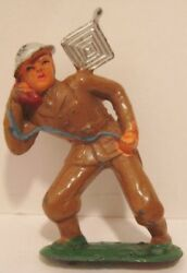 Old Barclay Lead Military Soldier W/ Field Phone And Antenna - Cast Helmet