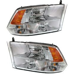 Headlight Set For 2013-2018 Ram 1500 Left And Right Chrome Housing With Bulb 2pc