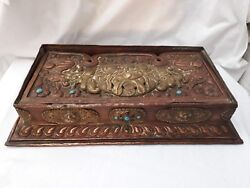 Antique Chinese/tibetan/tibet Copper Brass And Coral Folding Altar Table Box.