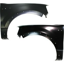 Fender Set For 2004-2006 Ford F-150 Front Primed Steel W/ Molding Holes Pair