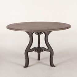 48 Dia. Vintage Dining Table Solid Marble Top Antique Cast Iron Base