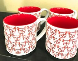 BRAND NEW GRADON HALL TEACOFFE 4 PC SET EMBOSSED DOG BOSTON TERRIER MUGS 12 OZ