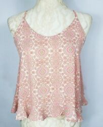 Lush Womens Size XS Pink Coral Geo Print Spaghetti Strap Swing Cross Back Top