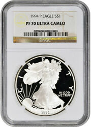 1994-p American Silver Eagle Proof - Ngc Pf70 Ucam