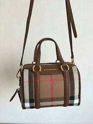 Brand New Burberry Women's Small Alchester in House Check Leather Made In Italy