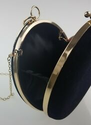 Round Circular Black Velvet Women's Clutch Evening Bag With Gold Trim and Chain
