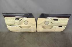 99-01 Bmw E38 750il Front Interior Door Panels Leather Pearl Beige Marine Blue