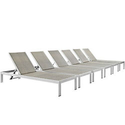 Set Of 6 Sun Lounge Chairs Aluminum Silver Frame Gray Rattan Commercial Quality