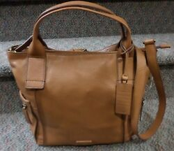 FOSSIL EMERSON Large Leather Satchel Tote Purse Shopper Crossbody Bag-Camel--NEW