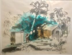 Original Ink And Watercolor Wash Painting By Ben Norris Of Hawaii 1945