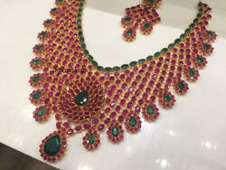 Surprise Gift 18k Solid Gold Art Deco Ruby Emerald Wedding Necklace Jewelry