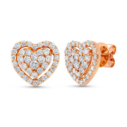 1.25ct 14k Rose Gold Natural Round Cut Real Diamond Heart Halo Stud Earrings