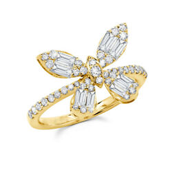 14k Yellow Gold Butterfly Diamond Ring Baguette Round Cut Natural Womens 0.97 Ct