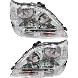 Headlight Set For 99-2003 Lexus Rx300 Left And Right Hid With Bulb 2pc