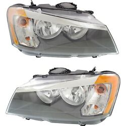 Headlight Set For 2011 2012 2013 2014 Bmw X3 Left And Right With Bulb 2pc