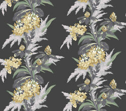 1804-116-01 - Aurora Floral Black Mustard Green Grey 1838 Wallpaper