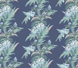 1804-116-05 - Aurora Floral Navy Green 1838 Wallpaper